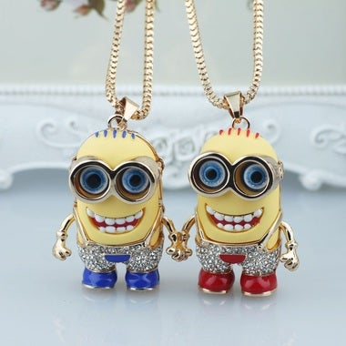 Beautiful Large Despicable Me Minion Pendant With Crystal Rhinestone Pants Plus