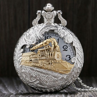 Hollow-out Train Head Large Pocket Watch