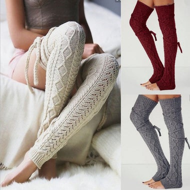 Womens Knitted Thick Over Knee Stockings Solid Winter Fashion Long Socks Boots