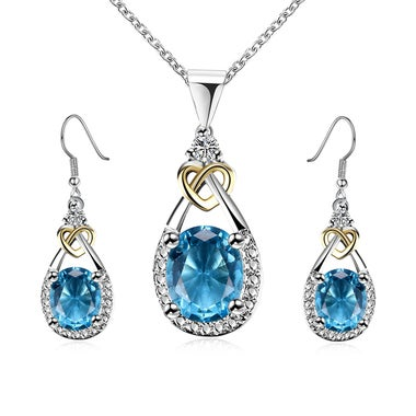 Luxury Blue Chalcedony Pendant Necklace Earrring Set In White Gold Filled