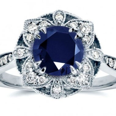 Exquisite Gorgeous Genuine Round Cut Blue AAA Zircon Snow Flake Ring In White Go