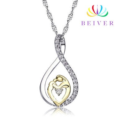 Luxury Mom and Kid Mother's Day Gift Pendant Necklace in 18K White Gold / Yellow