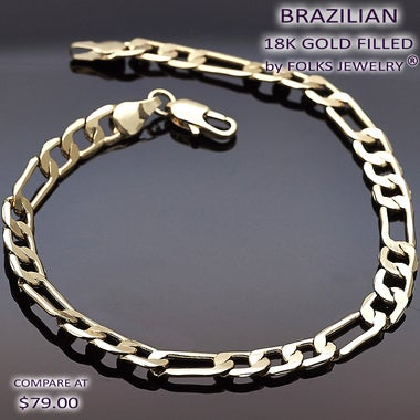 5mm Figaro Bracelet, Gold Filled, 8