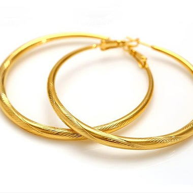 Arabesquitic Classic Hoop Earring In Yellow Gold Filled
