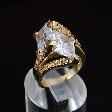 18K Yellow Gold Plated Double  5ct Square CZ Inlaid Ring
