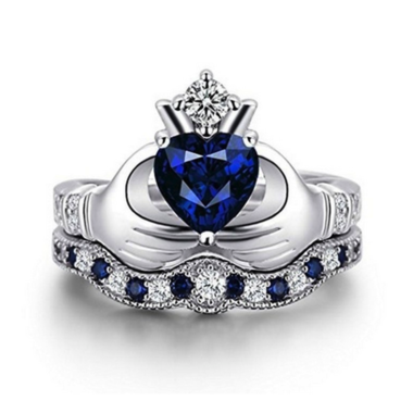 Exquisite Genuine Heart Cut Sapphire Crown Double Ring In White Gold Filled