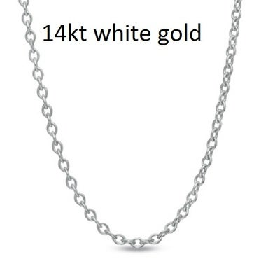 14kt White Gold Cable Chain
