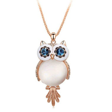 Modernist Genuine White AAA Zircon Owl Pendant In Yellow Gold Filled