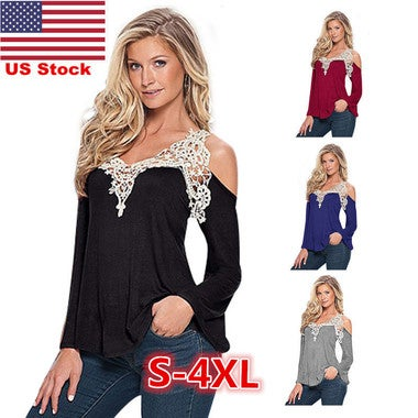 US Womens Ladies Sexy Cold Shoulder Long Sleeve Lace Shirt Tops Blouse T-shirt