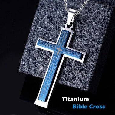 Classic Bible cross necklace for men titanium pendant necklace blue