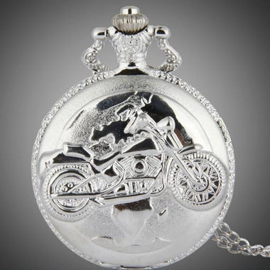 Cool Exquisite Personality and Stylish Silver Motorcycle Pocket Watch