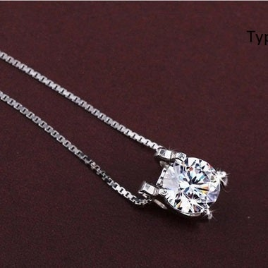 Cubic Zirconia, Silver Plated Heart Pendant Necklace