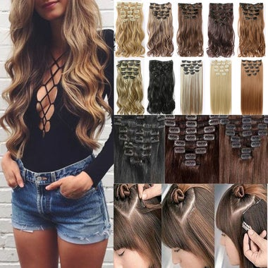 24'' 60cm Full Head Clip in Hair Extensions Synthetic Thick Long 16 Clips Straig