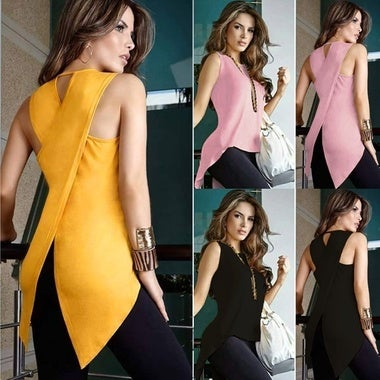 Fashion Women Autumn Summer Sleeveless Irregular Ladies Casual Tops T-Shirt Blou