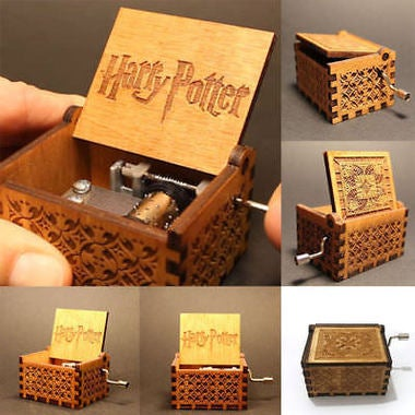 1PC Harry Potter Engraved Wooden Music Box Interesting Toys