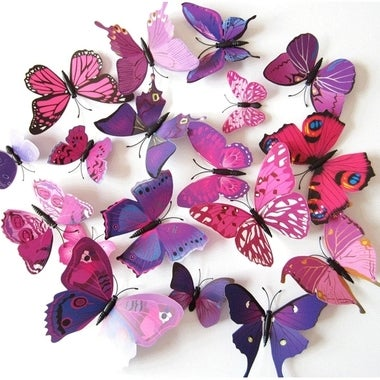 3D Butterfly Magnets-12 Piece Set (Assorted Colors)