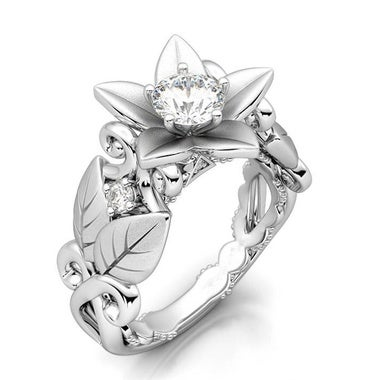 Antique Floral Ring Rose Lucky Flower Leaf 18K White Gold Plated Wedding Engage