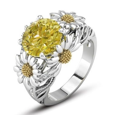Sunflower Diamond Ring White Optional