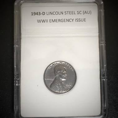 1943-D Lincoln Cent World War II Emergency Issue Steel Penny High Grade Coin in