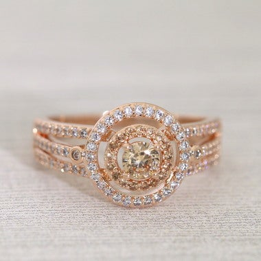 Double Halo Rose Gold Champagne CZ Engagement Ring #999