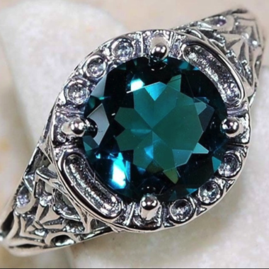 Luxurious  Vintage Round cut Green Topaz Wedding Ring 925 Sterling Silver Thanks