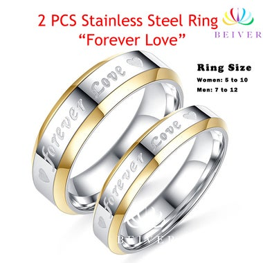 2 PCS Luxury Stainless Steel Couple Rings His and Her Rings- Forever Love