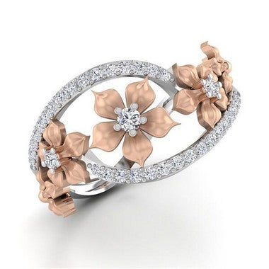 18K Rose Gold Plated Plated Rings flower diamond ring Crystal Romantic Gift For