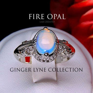 Luisa Oval Shape Lab Created Color Changing Fire Opal Ring - Ginger Lyne Collect