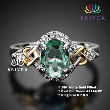 Luxury Oval Cut Green AAAAA Cubic Zirconia Wedding Ring 18K White Gold color Eng