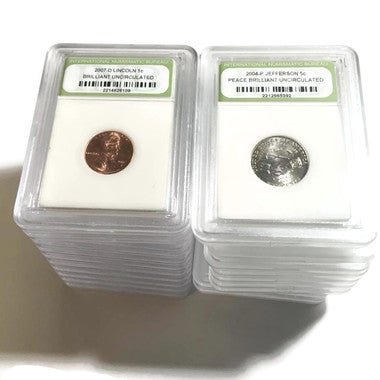 Set of 2 Certified Slabbed  Brilliant Un-circulated, Gem Proof BU  Lincoln Cent