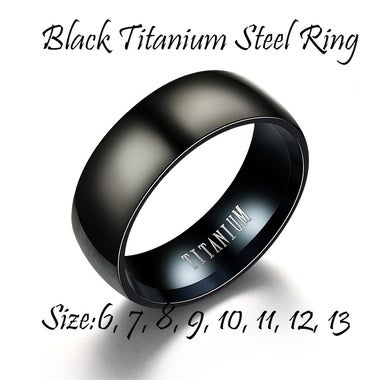 Mens Black Titanium Steel Rings Tide Models Brand Ring Promise Rings for Wedding