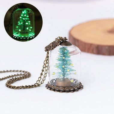 New hot handmade snowflake Christmas tree glass hood luminous pendant necklace