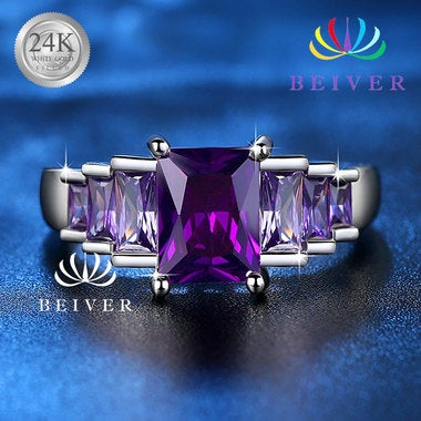 Luxury 3.4 cttw Princess Cut Purple Gogerous Engagement&wedding Rings Size 6 7 8