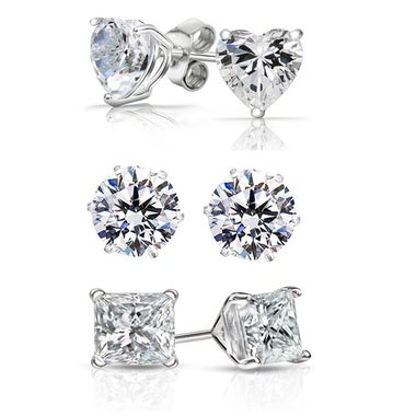 3 Pack: 6 CTTW Genuine Sterling Silver Stud Earrings