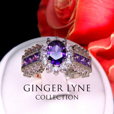 Julissa Purple Bridal Engagement Wedding Cocktail Ring - Ginger Lyne Collection