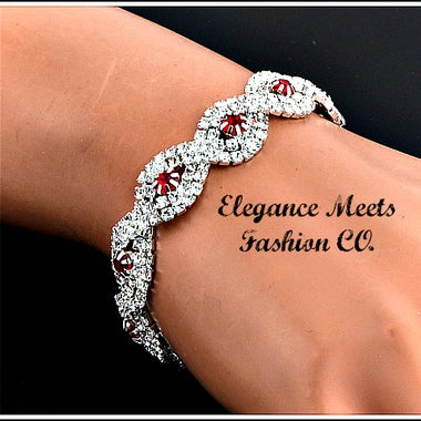 STUNNING RED STONE SILVER PLATED BRACELET