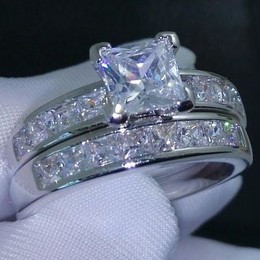 Womens Vintage White Gold Filled Cz Round Ring A32