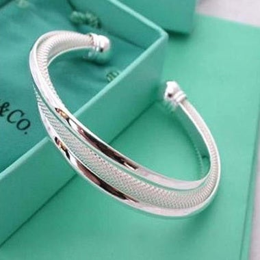 Platinum Color Jewelry Open Double Wire Bracelet Fashion Bracelet