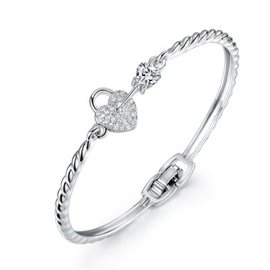 White Gold Plated Sterling Silver Swarovski Crystal Heart & Key Braided Bangle