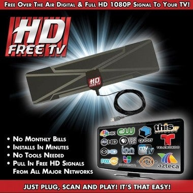 Free Shipping Get rid of Cable - Ultra Thin Indoor HDTV 1080p Antenna - 35 Miles