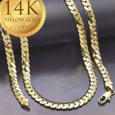 Solid Cuban Chain, 7mm, Gold Filled 28 inches (FJ923901)