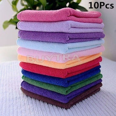10Pcs Microfibre Cleaning Cloth Towel Car Valeting Polishing Duster Kitchen Wash