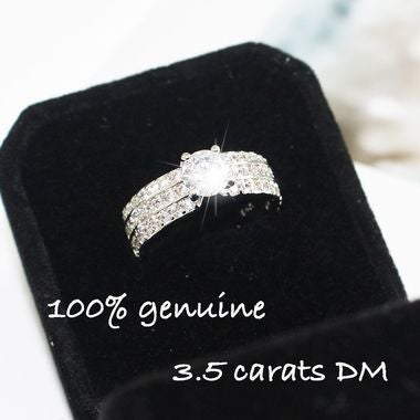 100% 3.5 Carats Diamond White Gold Wedding Ring Gift