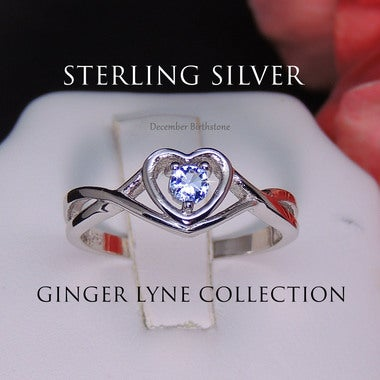Christine Sterling Silver Blue CZ December Birthstone or Engagement Bridal Weddi