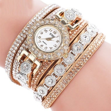 FAN New Women Fashion Casual Analog Quartz Women Rhinestone Watch Bracelet Watch