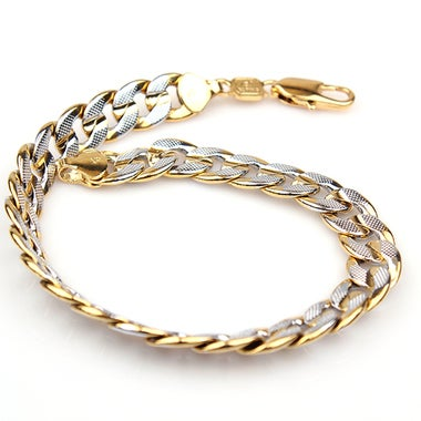 2 Tone 18K Gold Filled Curb Link Chain Men's Bracelet 8.27