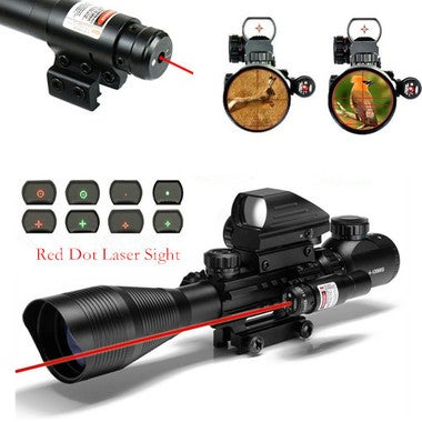 Tactical Red Dot Laser Sight Scope W/ Mount 21mm Picatinny Rail Mount 2x Wrench