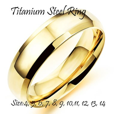 Men's Gold Color Titanium Steel Ring Simple Style Finger Ring Wedding Engagement