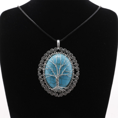 Classic Life Tree On Genuine Oval Turquoise Pendant