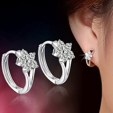 Lady Snowflake Silver Plated Leverback Huggie Hoop Earrings Jewelry